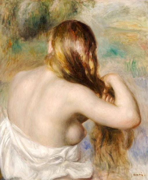 Rubia trenzando su cabello de Renoir