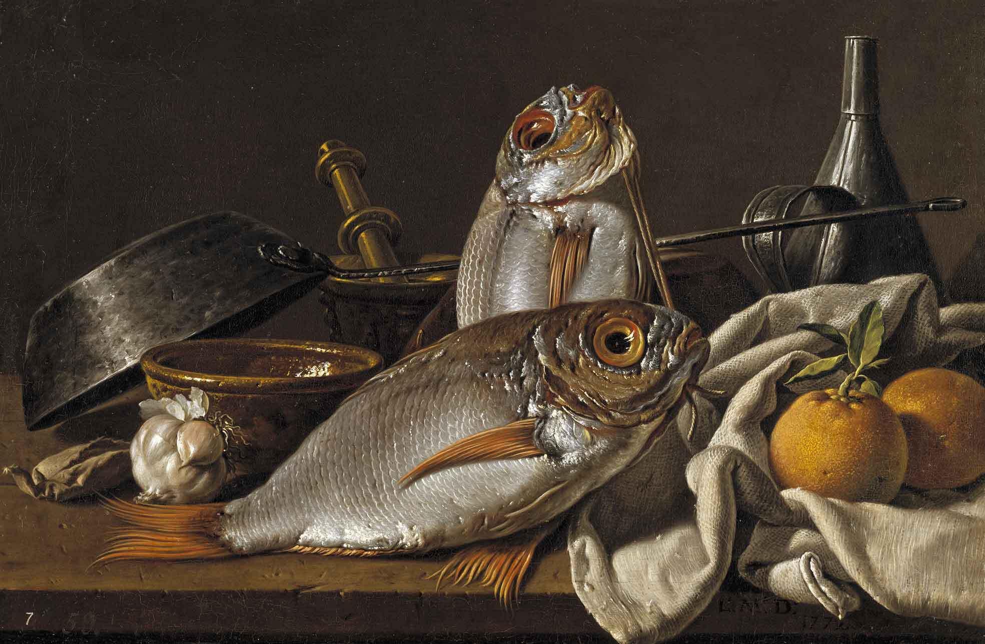 Bodegón con besugos, naranjas, ajo, condimentos y utensilios de cocina, de Luis Egidio Meléndez