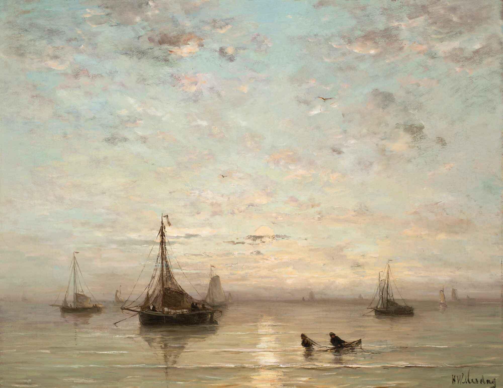 Barcos de pesca al atardecer de Hendrik Willem Mesdag