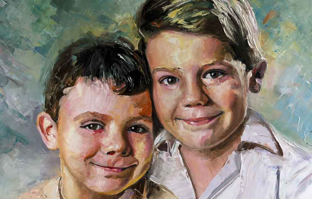 Retrato a espátula y pincel