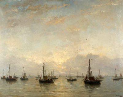 Por la mañana temprano con muchos barcos de Hendrik Willem Mesdag