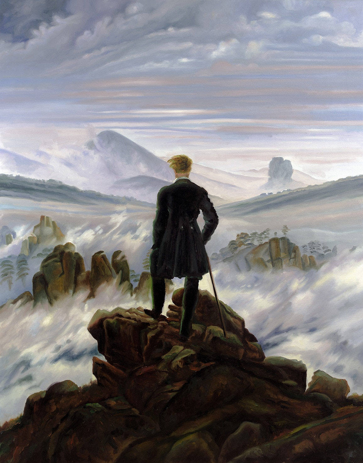 """Reproducción de """"El caminante sobre el mar de nubes"""", de Caspar David Friedrich"""