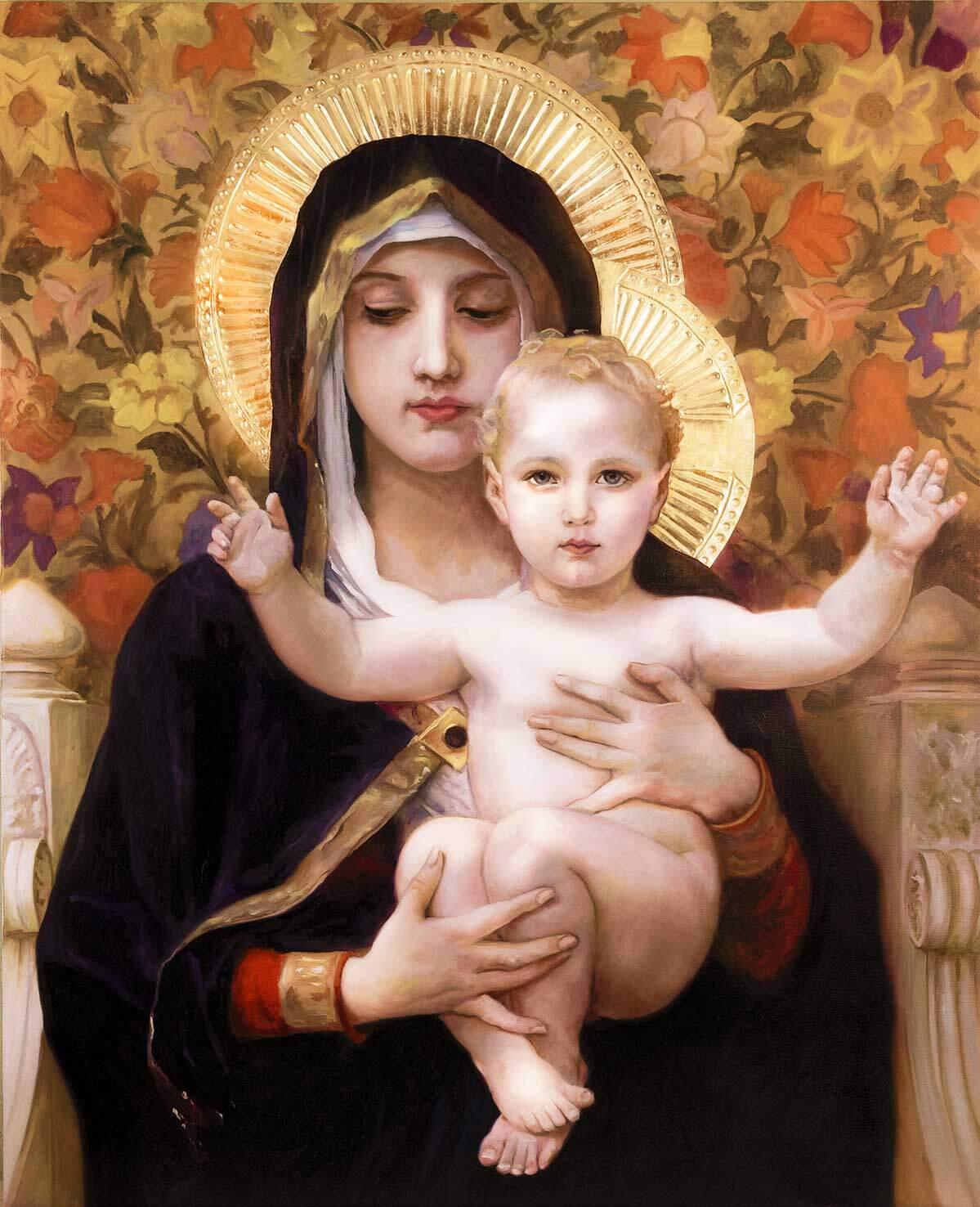 Reproducción de La Virgen de los lirios de Bouguereau