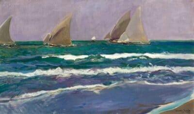 Velas en el mar, Valencia, de Joaquín Sorolla